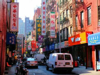 ニューヨークのチャイナタウン 典型的な中華風のビル