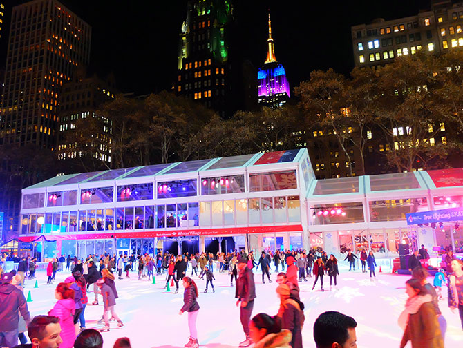 ニューヨーク クリスマスシーズン - ブライアントパークでスケート
