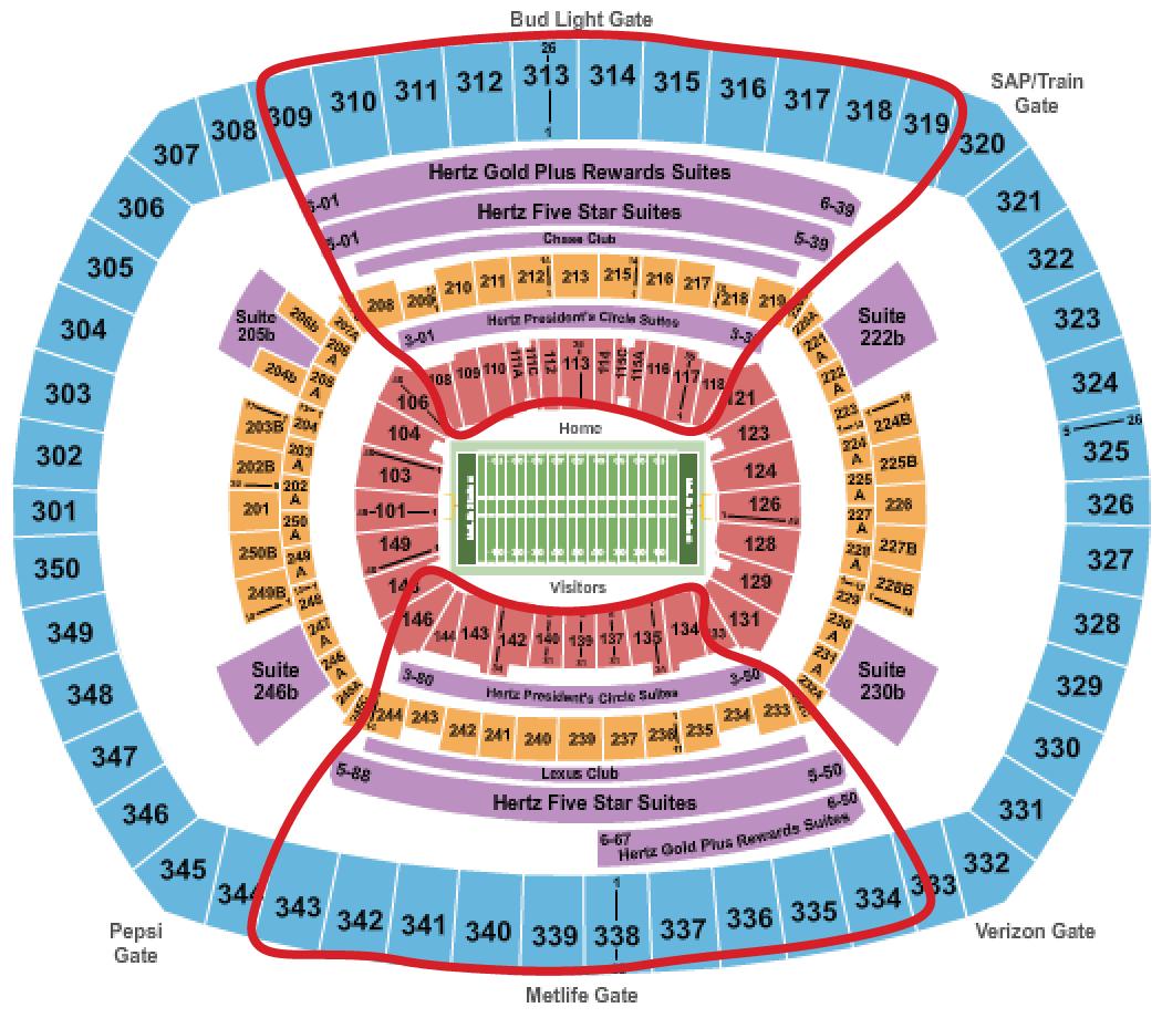 ニューヨーク・ジャイアンツのチケット - メットライフ 座席表