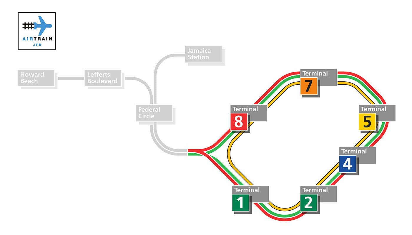 JFK エアトレイン - エアトレイン路線図